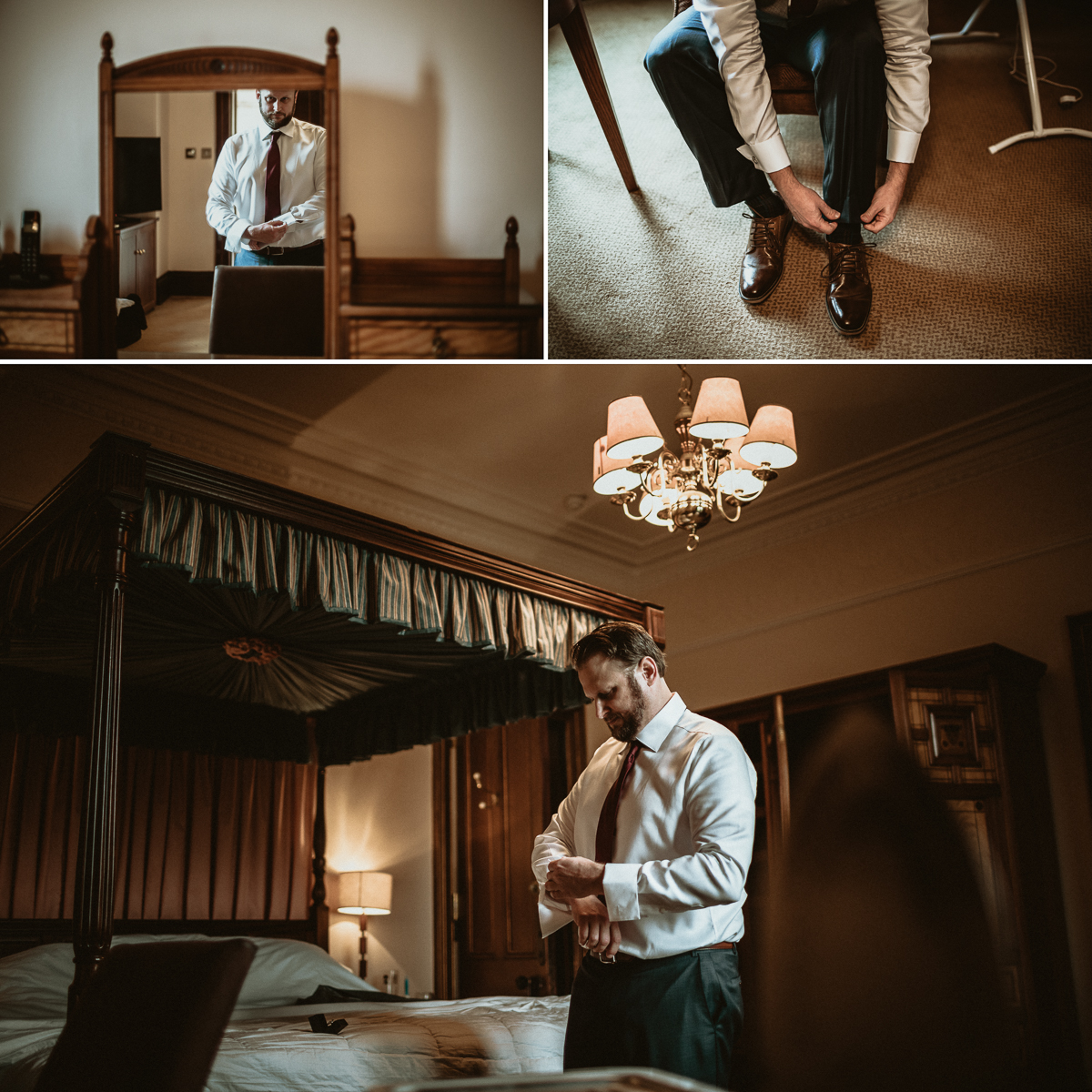 Groom getting ready at Castle Fraser