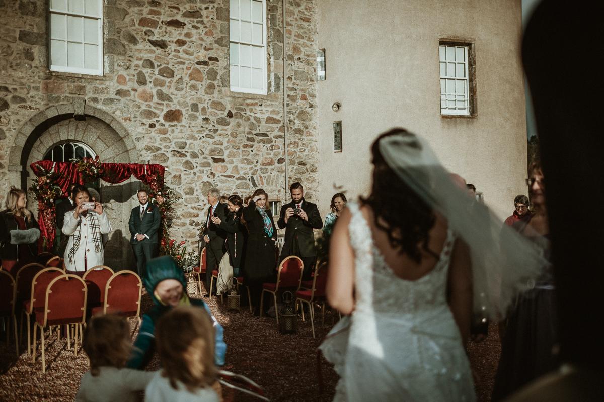 First look, Castle Fraser wedding ceremony