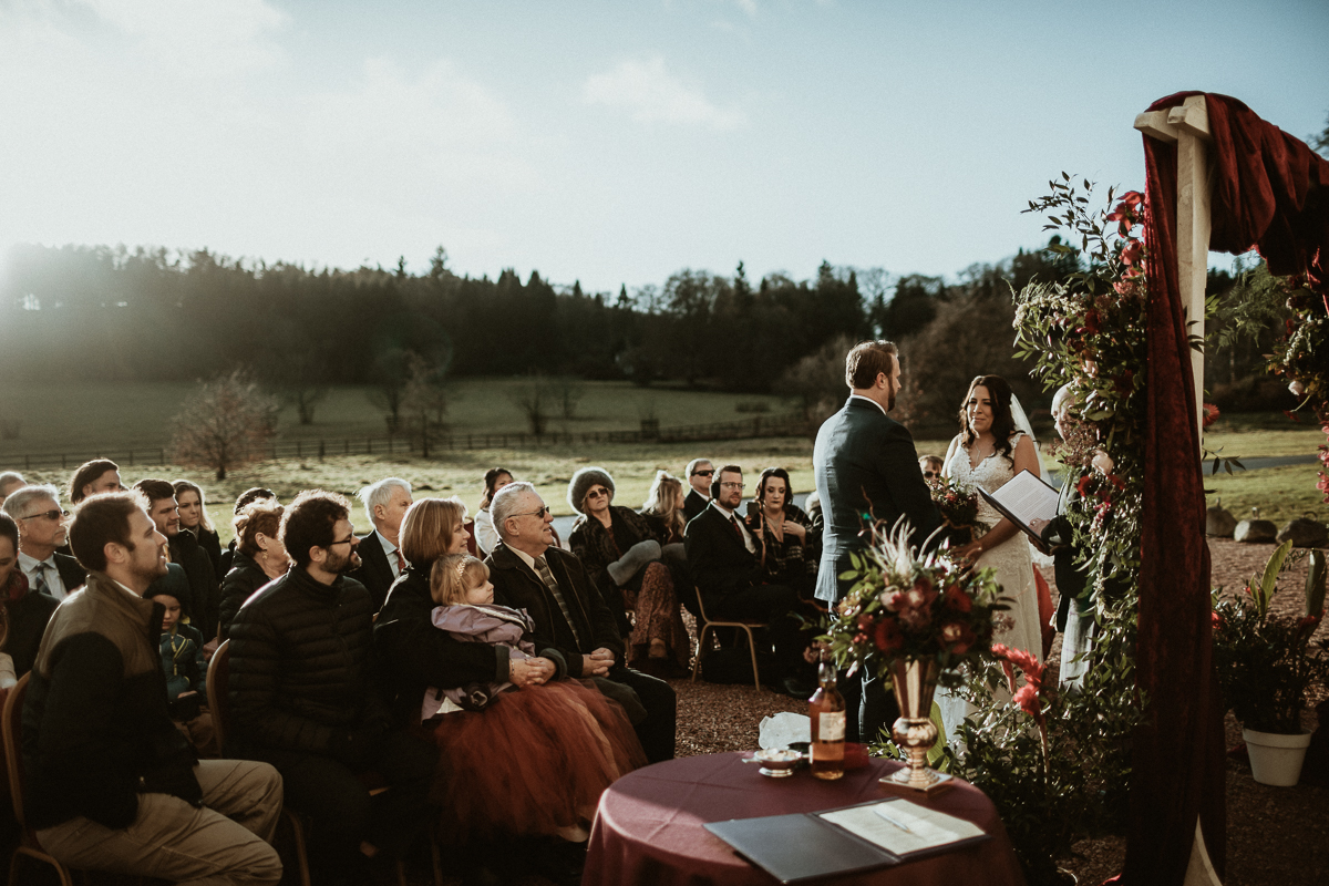 wedding ceremony in front of Scottish Castle