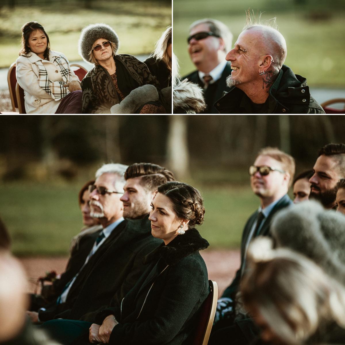 wedding guests during ceremony, Castle Fraser