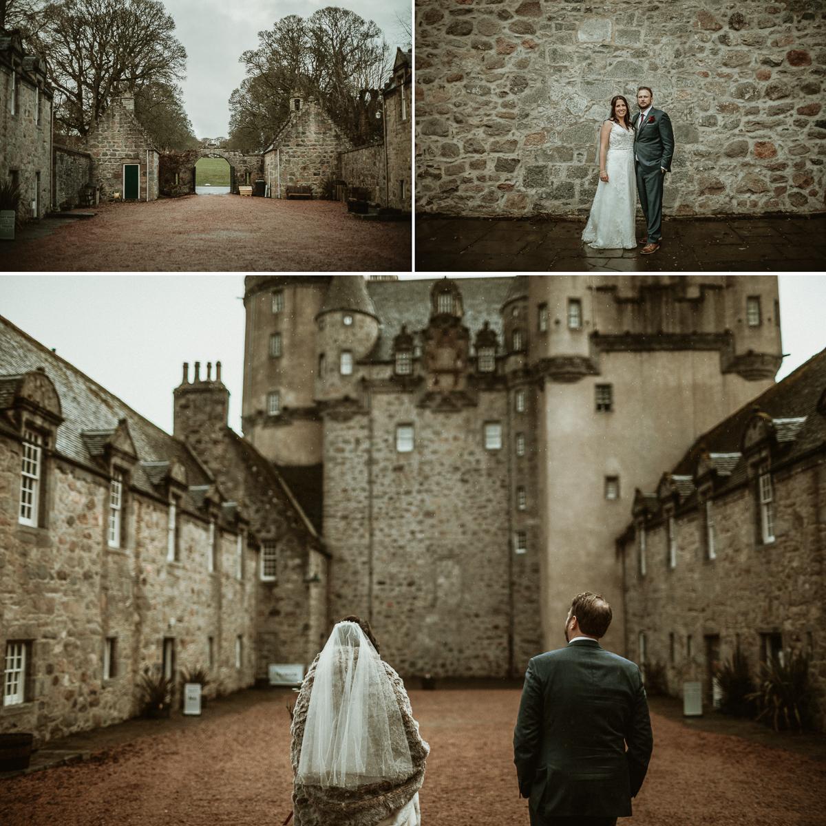 Bride and Groom in front of Castle Fraser