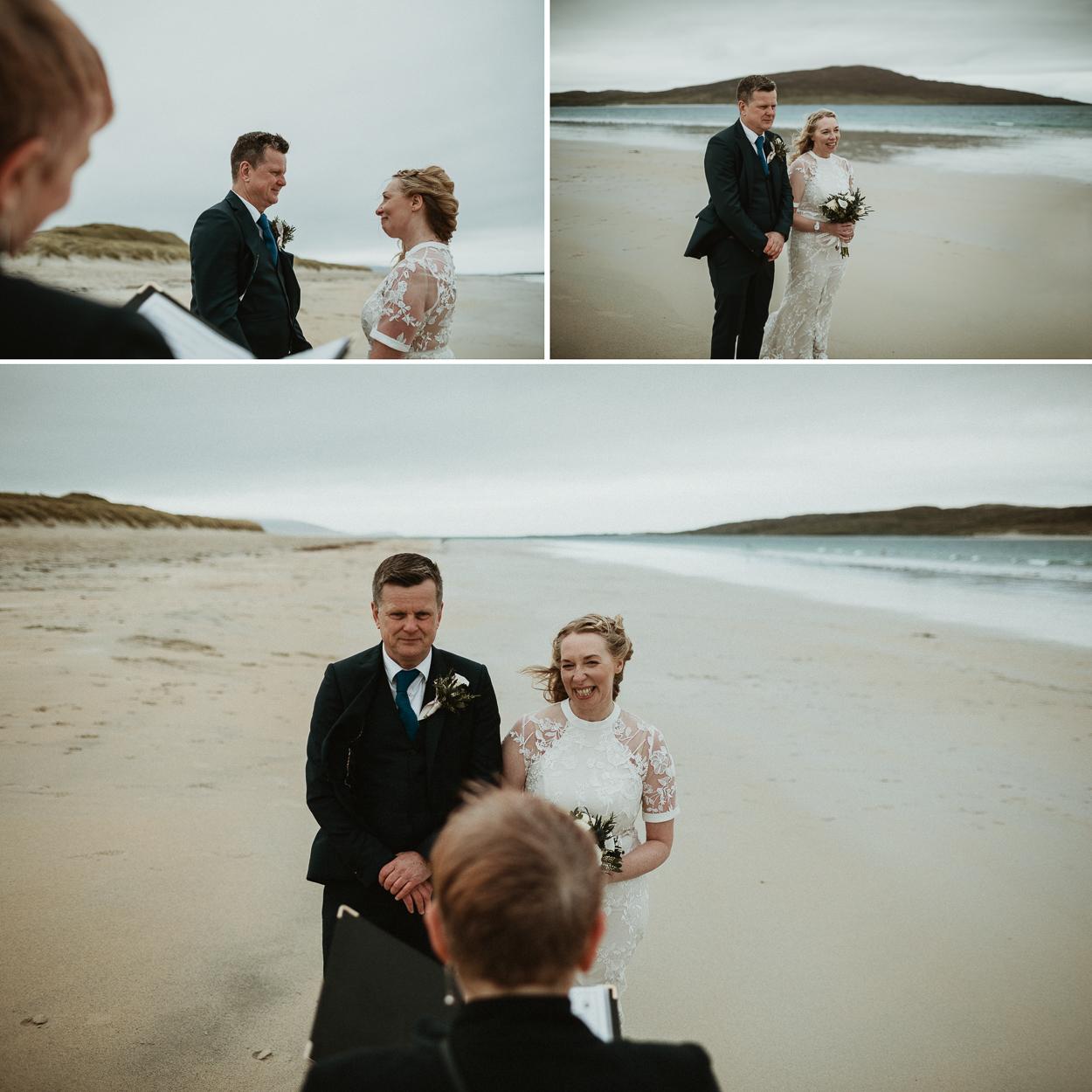 Romantic elopement on Luskentyre Beach