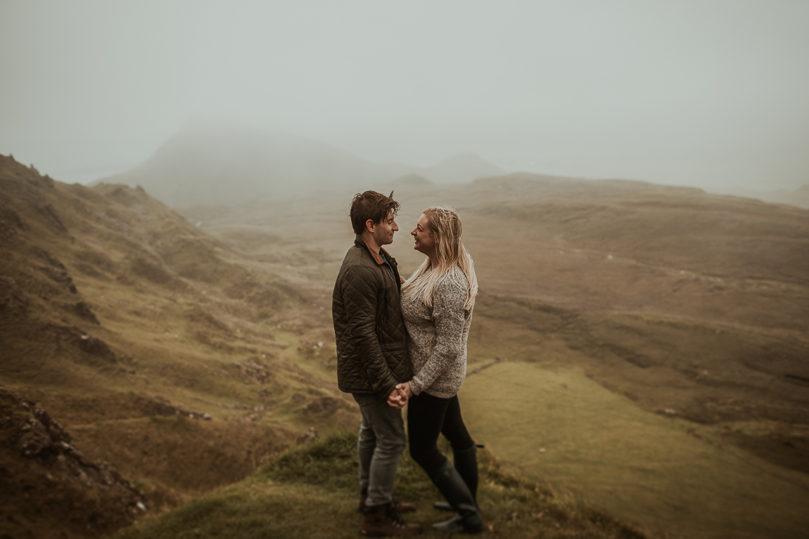 Scottish elopement in rain